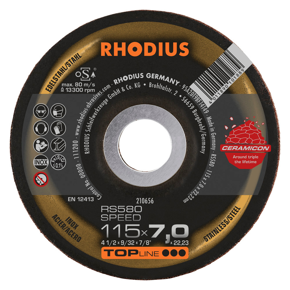 Brusný kotouč RHODIUS ocel RS580 SPEED 125 × 7,0 × 22,23